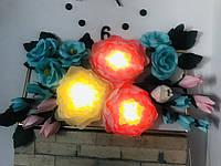 Панно картина 3Д ночник Ростовые цветы из изолона, фото 1