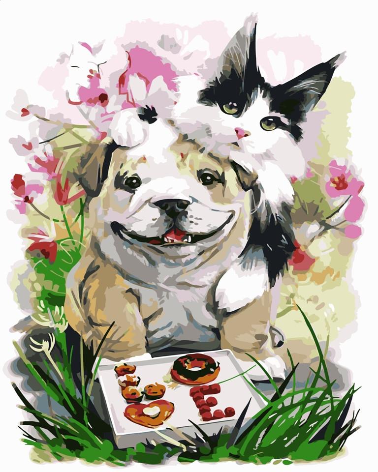 """Картина по номерам """"Кот и пес"""" тм Лавка Чудес 40 x 50 см (в коробке) (LC20021)"""