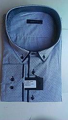 Елегантна Чоловіча сорочка полупритал великого розміру DERGI з коміром на гудзиках і довгим рукавом батал