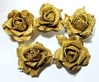 Головка розы латекс 7,5 см, золото