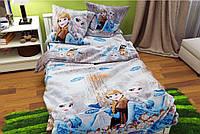 Комплект постельного белья Холодное Сердце Анна и Эльза белая / Бязь Голд