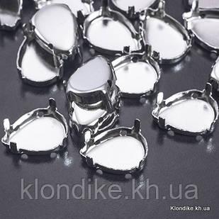 Цапы для Страз, Латунь, Капля, 14×10×0.3 мм, Цвет: Платина (20 шт.)