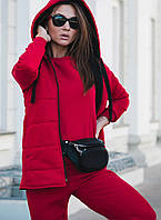 Женский спортивный костюм тройка тёплый беж, чёрный, пудра, электрик, красный 42-44, 44-46