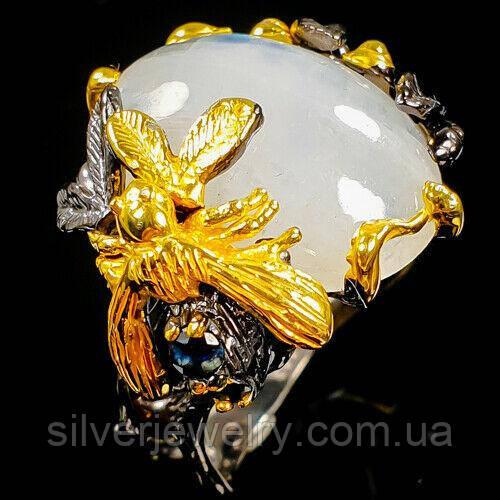 Серебряное кольцо с ЛУННЫМ КАМНЕМ (натуральный), серебро 925 пр. Размер 18,25