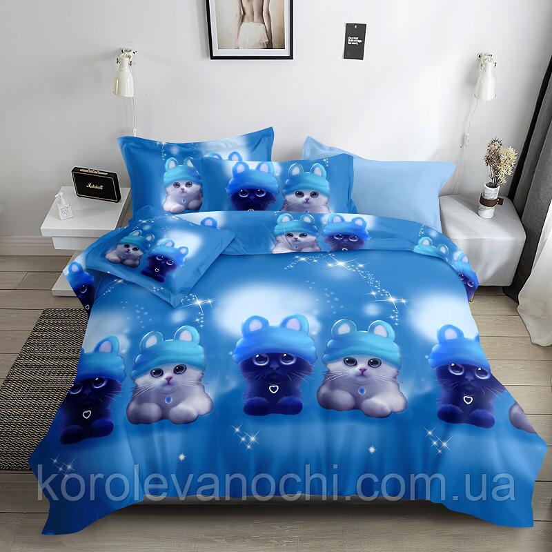 """Семейный комплект (Ранфорс)   Постельное белье от производителя """"Королева Ночи""""   Коты на голубом"""