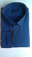 Элегантная Мужская рубашка полупритал большого размера DERGI с воротником на пуговицах и длинным рукавом батал