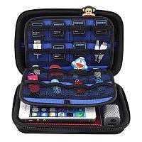GUANHE сумка чехол органайзер для USB жесткого диска или телефона  флешек черный +синий размер 185х120х55