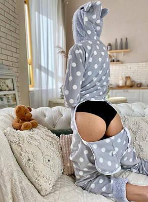 Пижама комбинезон с карманом (вырезом) на попе теплая серая в горошек