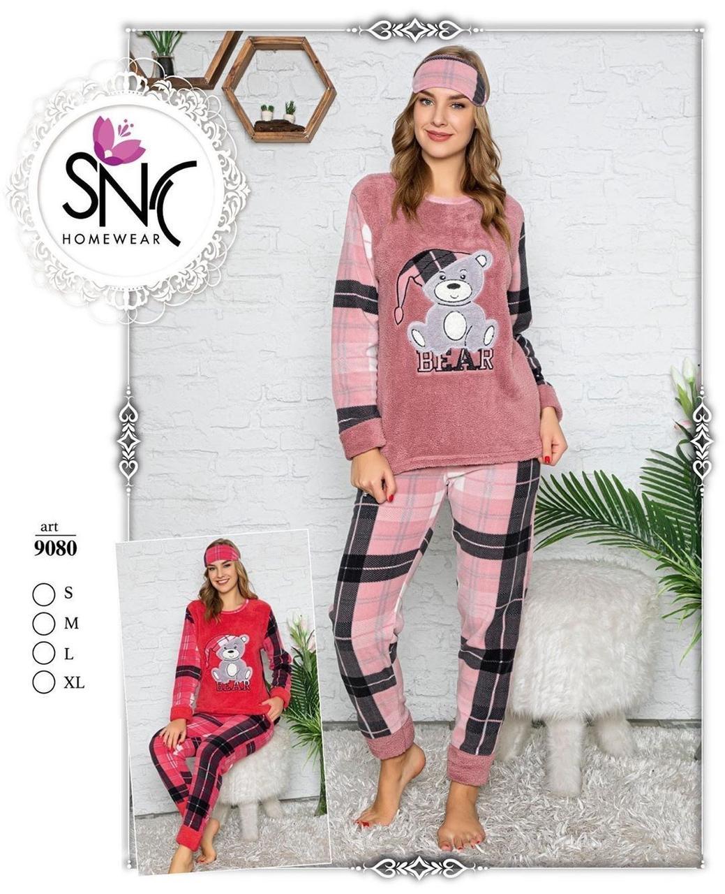 Женская  теплая пижама с повязкой Sleepy bear