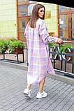 Теплая длинная женская рубашка в клетку из шерсти 44-0255, фото 6
