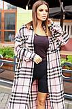 Теплая длинная женская рубашка в клетку из шерсти 44-0255, фото 4