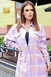 Теплая длинная женская рубашка в клетку из шерсти 44-0255, фото 3