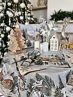 "Серветка гобеленова ""Різдво в Карпатах"" RUNNER723 (золотий люрекс)"