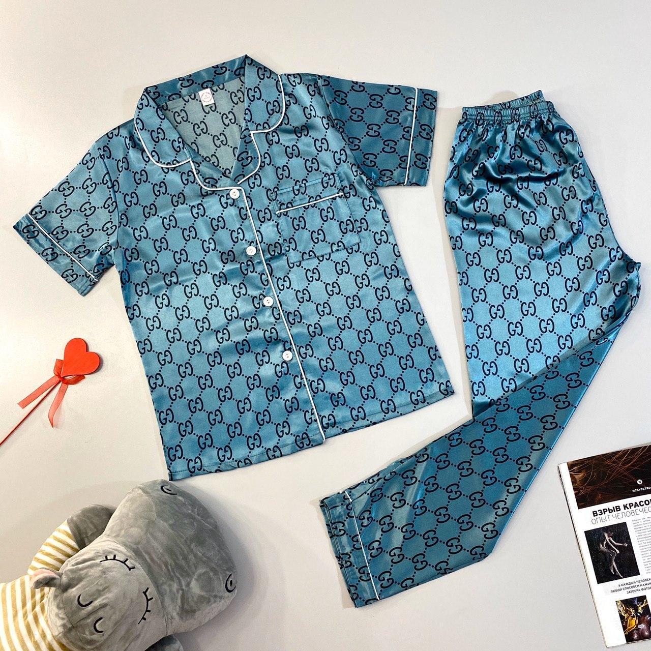 Шелковая пижама женская голубая рубашка + штаны M