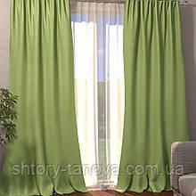 Готовая штора блэкаут однотонный оливка 150/270, современные шторы в спальню, зал, кабинет 1шт