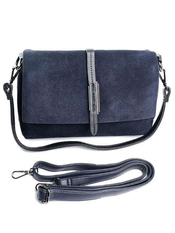 Женская сумка кожа-замша через плечо Case 79390 синяя