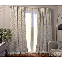 Декоративная штора листья оливка, лазурь фон молочний 150/270 см, готовые шторы в спальню, детскую, зал 1 шт