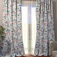 Декоративная штора цветы мультиколор 150/270 см, готовые шторы с цветами 1 шт