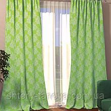 Декоративная штора вензель салат 150/270 см, готовые шторы классика в гостиную, зал, спальню 1 шт
