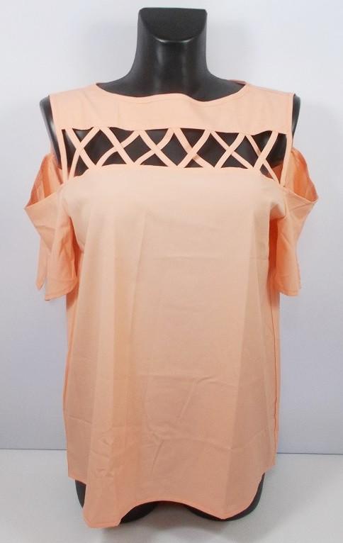 Блуза персиковая c открытыми плечами Турция размер М (46-48)