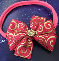 Повязочка эластичная для маленьких принцесс Бантик Подарок девочке