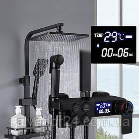 Душевая система наружного монтажа ZOSN  с термостатом RD-239 и цифровым дисплеем черная