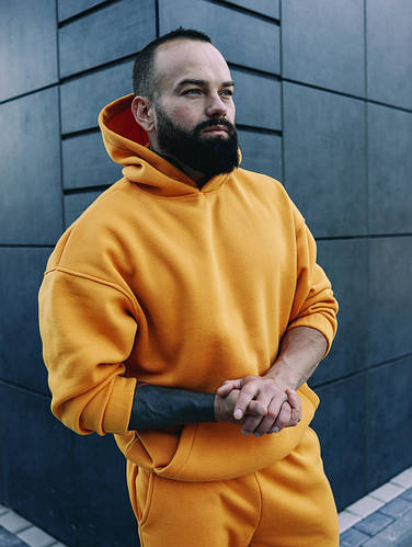 Мужской зимний оранжевый спортивный костюм Oversize Оверсайз