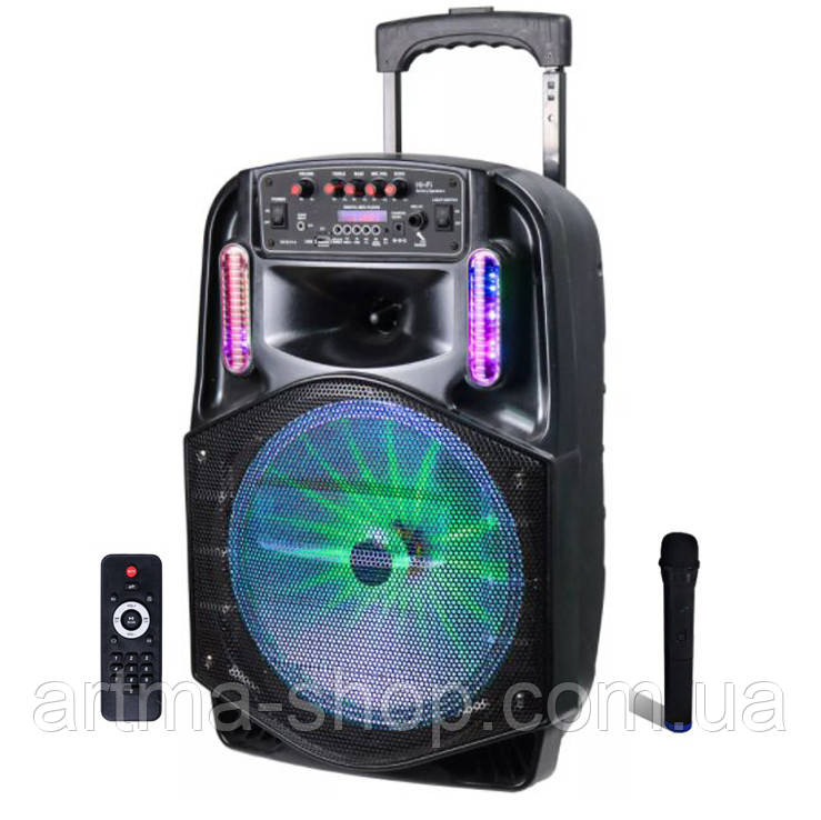 Активная акустическая система с беспроводным микрофоном Lige CROWNS , Мощность 180 Ватт, Светомузыка