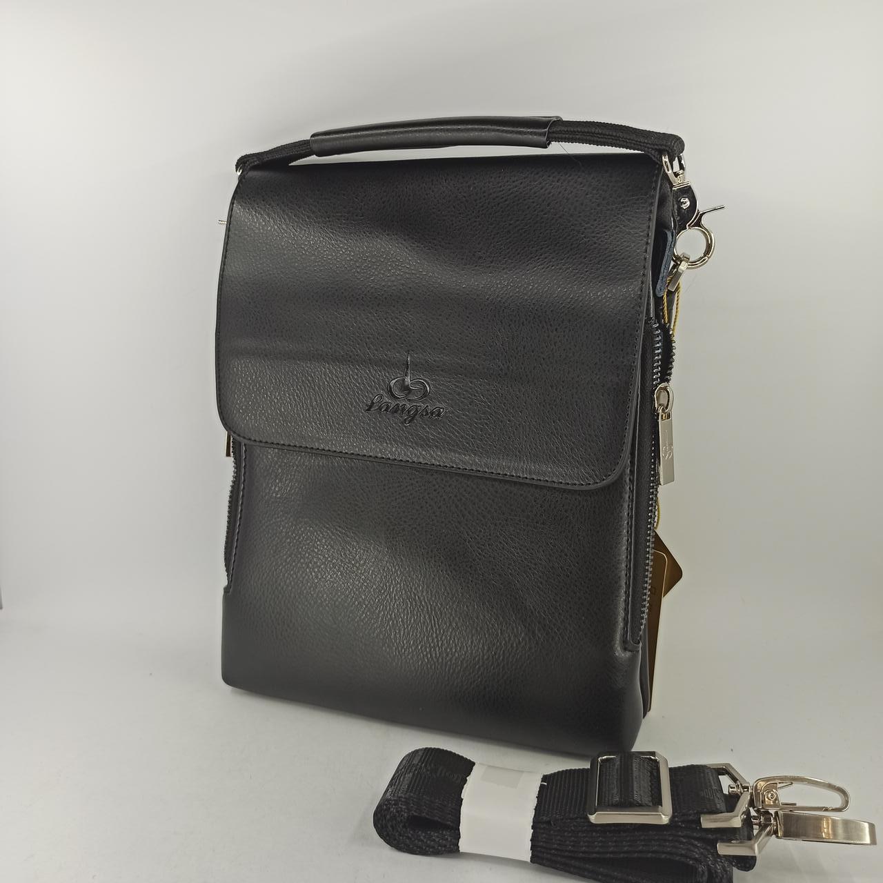 Мужская кожаная сумка планшет через плечо Langsa 8868-2