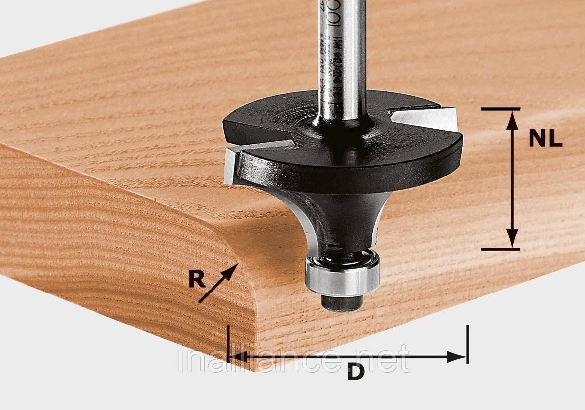 Скругляющая фреза с опорным подшипником HW S8 D22,7/R5 KL хвостовик 8 мм Festool 491012