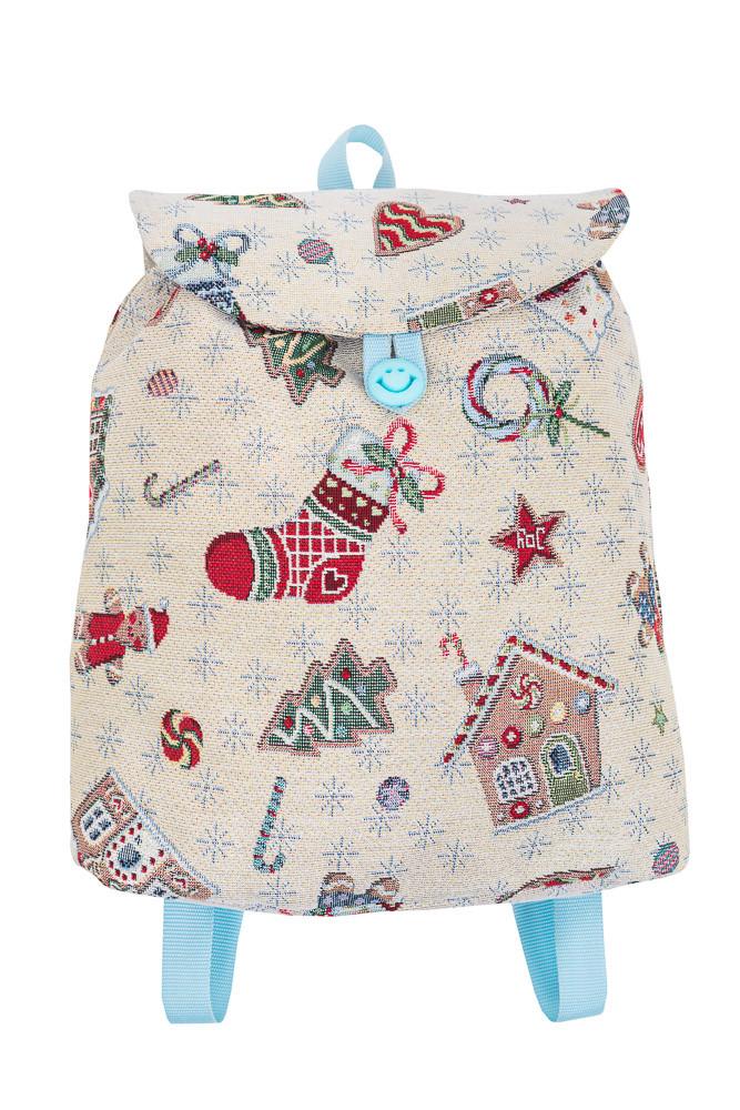 """Новорічний рюкзачок """"Зимові розваги"""" (сріблястий люрекс)"""