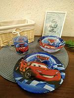 Набор детской посуды стекло Тачки 3в1, фото 4