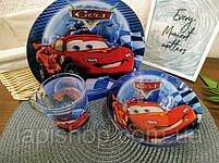 Набор детской посуды стекло Тачки 3в1, фото 6