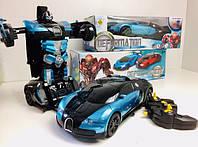 Машинка-трансформер Autobots Bugatti Veyron Синяя на радиоуправлении 1:12, фото 1