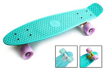 """Классический пенни борд для девочек (Penny Board) """"Pastel Series"""" с матовыми колесами Бирюзовый цвет"""