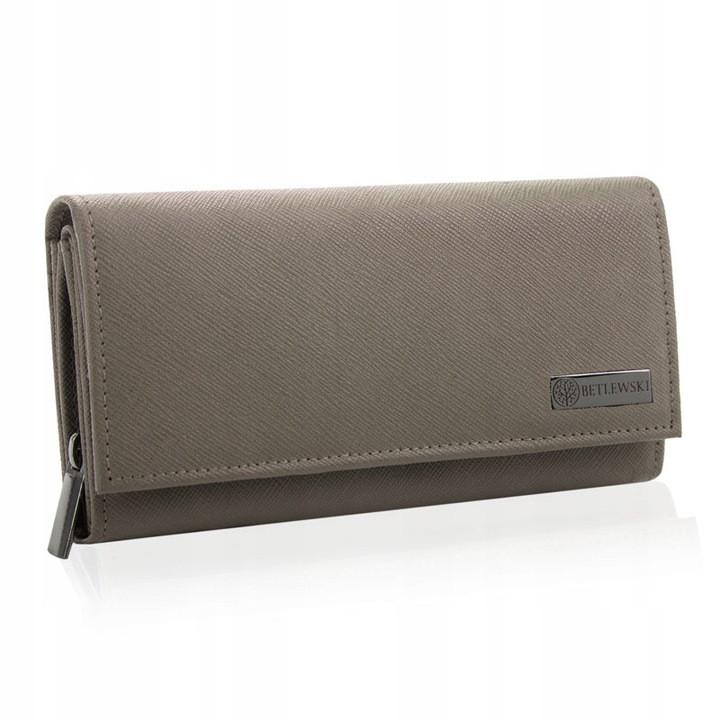 Шкіряний гаманець BETLEWSKI з RFID 17.8 х 9.5 х 4 (BPD-SA-12) - бежевий