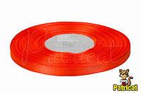 Лента атласная оранжевая 0,6 см длина 33 м бобина