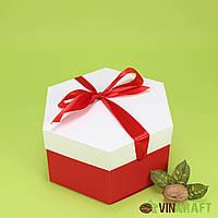 Коробка 170*200*100  подарункова з бантом, червоно-біла