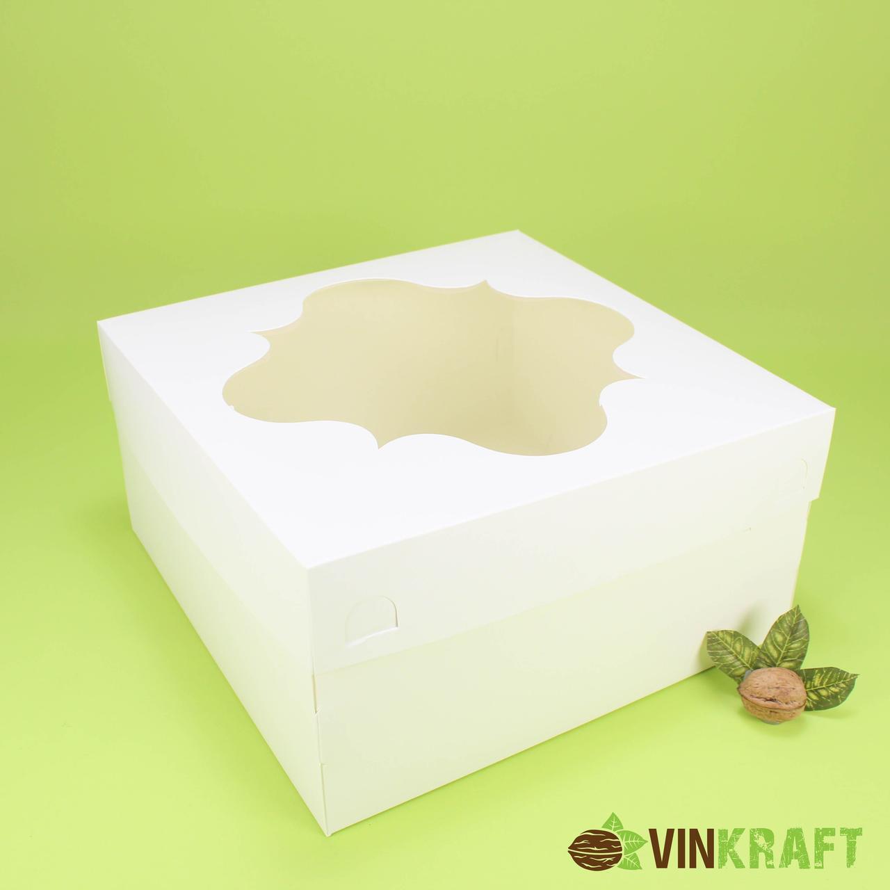 Коробка 300*300*150 для торта з вікном, біла