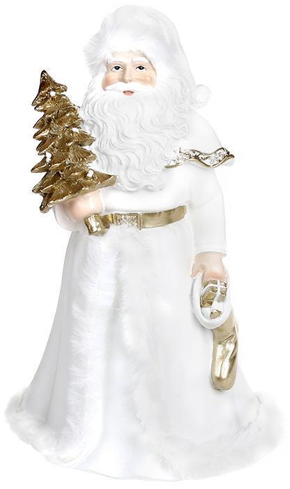 """Декоративная статуэтка Санты """"Долгожданный Гость"""" 14х12х23см, полистоун, белый с золотом"""