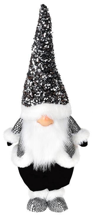 Мягкая игрушка «Гном Black&White» 22х16х55см в пайетках