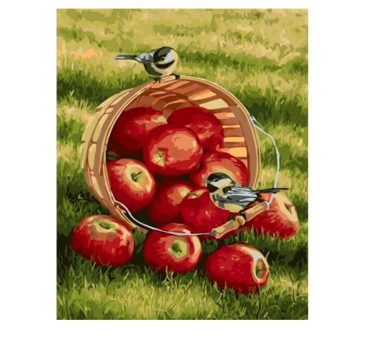 """Картина по номерам. Животные, птицы """"Хрустящие яблочки"""" 40х50см KHO2469"""