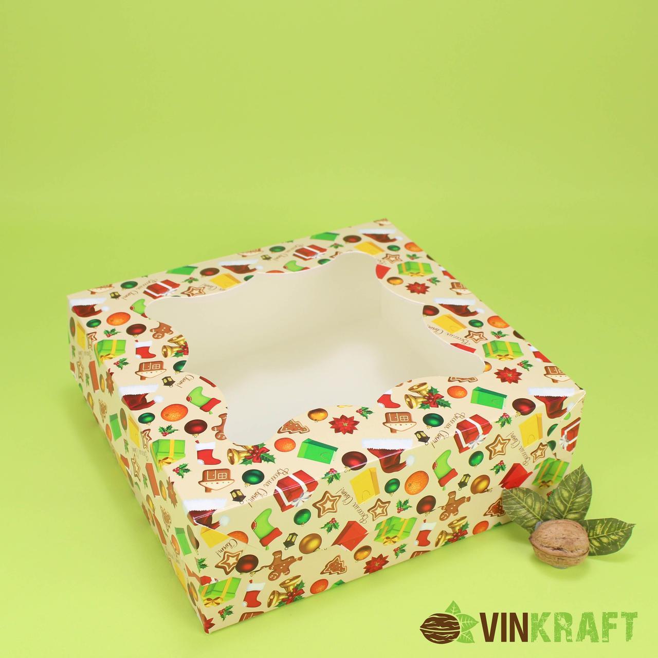 """Подарункова коробка 260*260*90 з вікном,  """"Чобіток"""""""
