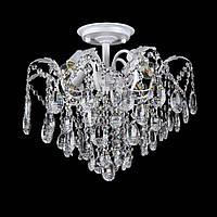 Хрустальная люстра на 4 лампочки белая с серебряной патиной VL-L7097/4
