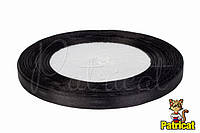 Лента атласная черная 0,6 см длина 33 м бобина