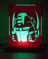 Декоративный настольный ночник Оптимус Прайм, теневой светильник, несколько подсветок (батарейка+220В)