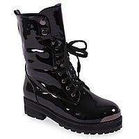 Лаковые ботинки на шнурках Gelsomino (зимние, теплые, черные, на шнурках, на меху)