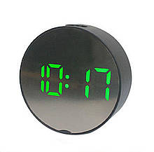 Зеркальные Led часы Dt-6505 black с будильником и термометром