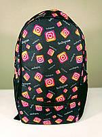 Молодежный рюкзак с принтом Instagram/Истаграм городской школьный белый, синий, черный