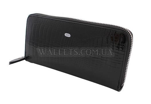 Женский кожаный кошелек ST Leather Accessories на молнии, черный, лак.